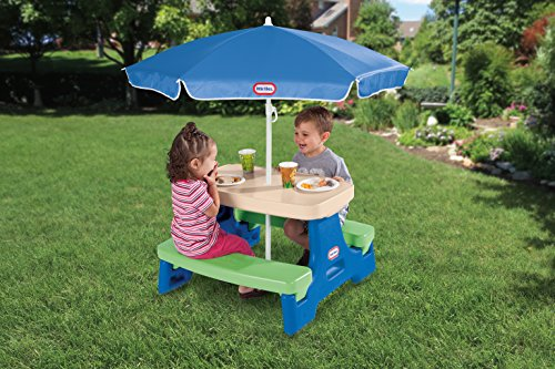 51IPHfi6rWL - Little Tikes Easy Store Junior Picnic Table with Umbrella, Blue/Green