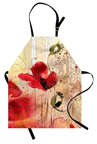 Ambesonne Vintage Apron, Abstract Retro Floral Composition with Paint Marks on Grunge Worn Out Backdrop, Unisex Kitchen Bib Apron with Adjustable Neck for Cooking Baking Gardening, Multicolor - Grunge Bib