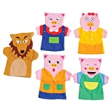 Constructive Playthings SVL-462 Three Little Pigs Hand Storytelling Puppets, Grade: Kindergarten to 3, Age: 10.1'' Height, 1.95'' Wide, 13.35'' Length