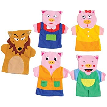 Constructive Playthings SVL-462 Three Little Pigs Hand Storytelling Puppets, Grade: Kindergarten to 3, Age: 10.1