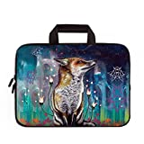 15'-15.6' Inch Laptop Sleeve Case Protective Bag with Outside Handle, Ultrabook Notebook Carrying Case Handbag For 14' 15' Lenovo Dell Toshiba HP Chromebook ASUS Acer (Wolf & Flower)