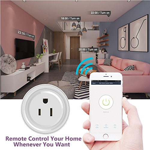 ADDWEL WiFi Smart Plug Mini Wireless Outlet Socket Compatible with Alexa Echo Google Home Assitant No Hub Required, Remote Control Your Devices Anywhere with Timing Function (2 Packs) by ADDWel (Image #1)
