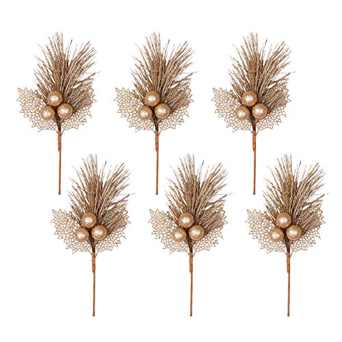 Valery Madelyn 6 Packs Gold Glitter Christmas Picks with Artificial Leave and Sprays for Christmas Decoration and Home Decor