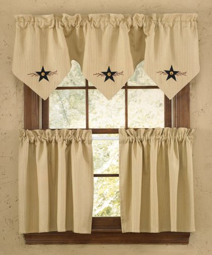 Star Vine Country Lined Curtain Tiers