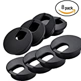 8 Pcs 2'' Black Desk Grommet Plastic Wire Organizer For Computer Desk Cable Hole Cover Plug Cap Hide Cords & Cables through Office Desk, TV Stand, Workstation, Tabletop