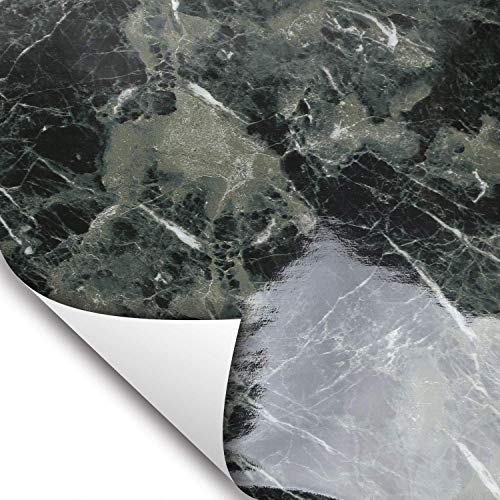 Wallstickery Marble Paper for Counter top Faux Black Green Granite Wallpaper Gloss Self Adhesive Sticky Stone Look Wall Stickers Removable Peel and Stick Kitchen cabinets