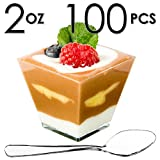 Mini Dessert Cups, Appetizer Bowls & Spoons with Recipe e-Book [Clear Plastic, 2 oz, Square Short, 100 Count] Small Catering Supplies, Disposable Tasting Glasses, Parfait Tumblers, Shooters