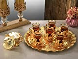 Premium Gold plated Tea Set for 6 - Made in Turkey - 21 pieced set, Gold