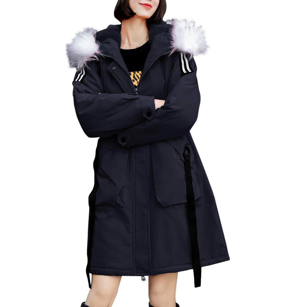 Women's Winter Warm Thick Outerwear Fur Hooded Cargo Coat Slim Cotton-Padded Pocket Jacket Black by Han1dsome coat