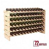 Liss 72 Bottles Holder Wine Rack Stackable Storage 6 Tier Solid Wood Display Shelves