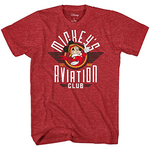 Disney Mickey Mouse Aviation Club 1928 Mens T-Shirt (Small, Heather Red)