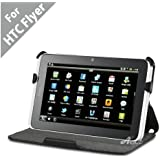 Acase Slim Leather Case Folio with multi view Stand for HTC FLYER (Black)