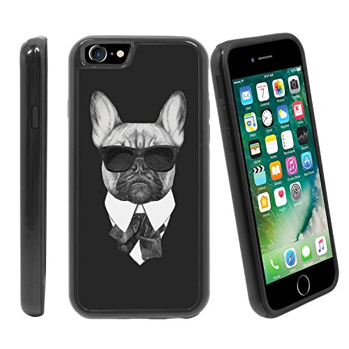 [Bulldog in Suit with Sun Glasses] For Apple iPhone 7 / iPhone 8 (4.7 inches) Hybrid Heavy Duty Armor Shockproof Silicone Cover Rugged - Girl Meme Sunglasses