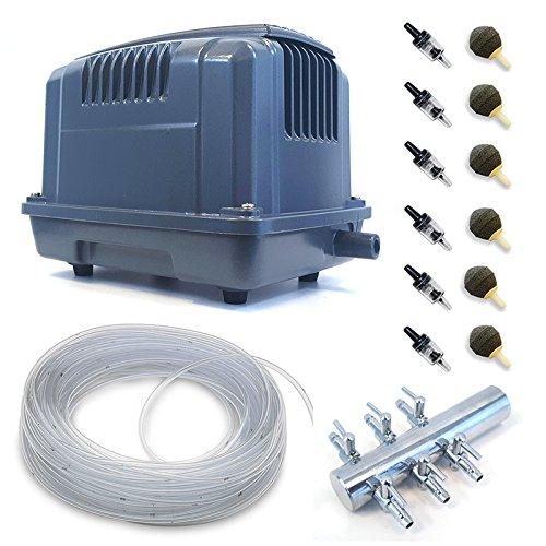 80 L Min Air Pump Outdoor Garden Pond Air Pump with Free Air Stones, Hose & Return Valves (80 L Min Air Pump)