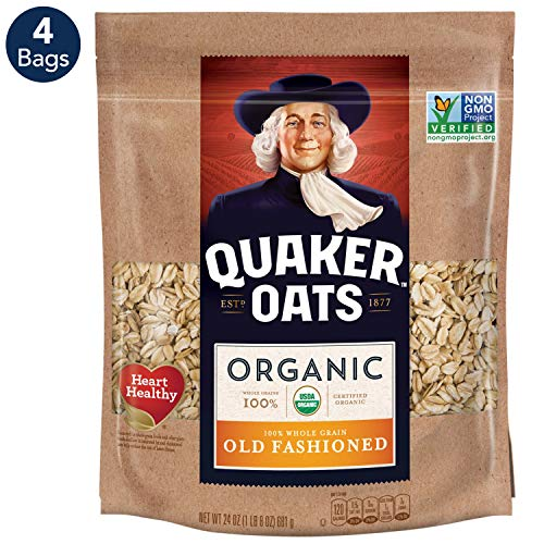 Quaker Organic Old Fashioned Oatmeal, Breakfast Cereal, Non-GMO Project Verified, 24 Ounce Resealable Bags (Pack of 4) (Old Fashioned Oatmeal Cookies)