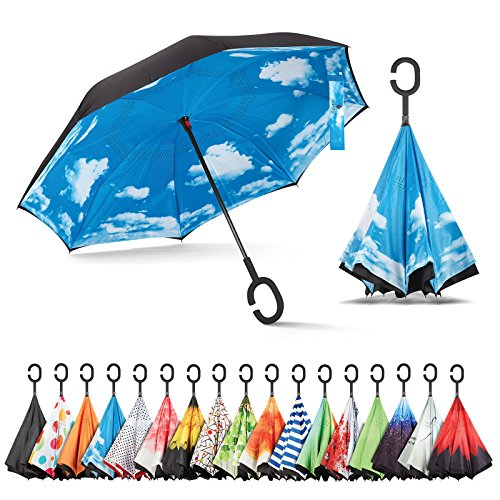 S&R Katz Inverted Umbrella Best Windproof Umbrella Cars Reverse Umbrella Beautiful Rain Umbrella with UV Protection Upside Down Umbrella With C-Shaped Handle and Carrying Bag (Blue sky) (Down Umbrella)