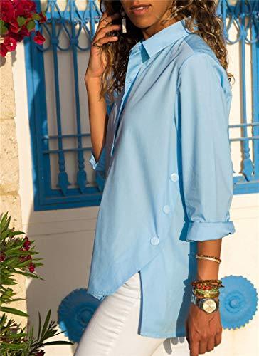 Femme Bleu Chemisier PENGYUE Femme PENGYUE PENGYUE Chemisier Bleu SqEx6FOS