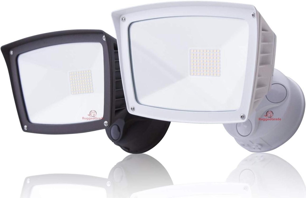 4800 Lumens – LED Wall Flood Light with Dusk to Dawn Sensor – White – 5000K – LED Wall Light Outdoor Photocell – ETL DLC – 40 Watt LED Flood Light