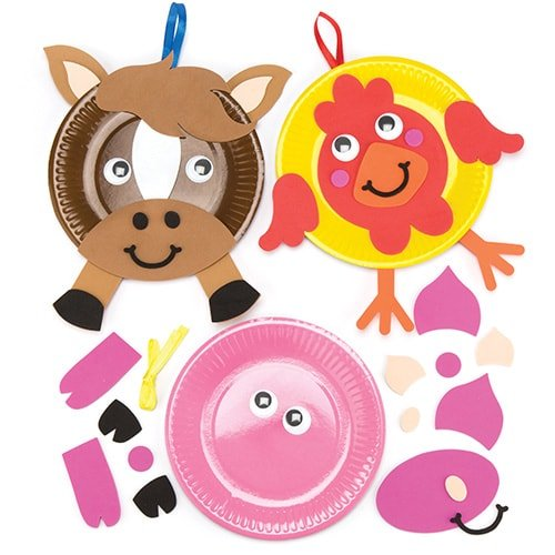 Farm Animal Plate Kits (Pack of 5) Kids to Make & Decorate