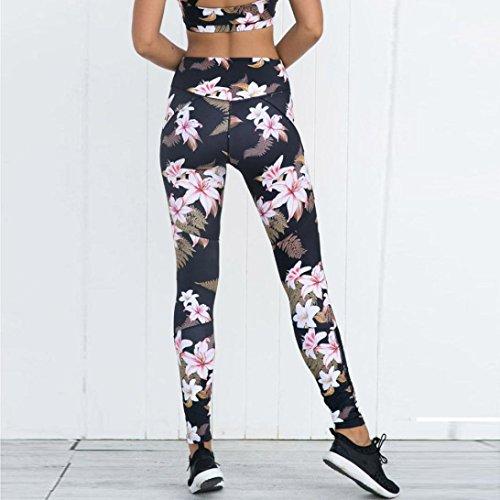 Femmes Leggings Sports Pantalon En Gym Yoga Fleurs Splice Cours Adeshop Net Impression D'exécution Fitness Fil Trouser Noir Athletic Taille Haute De dw4PT