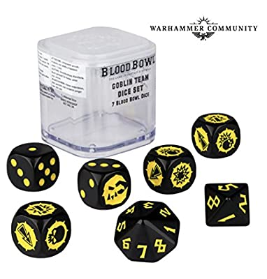 Blood Bowl The Game of Fantasy Football Goblin Team Dice Set (7 Blood Bowl Dice) by Warhammer