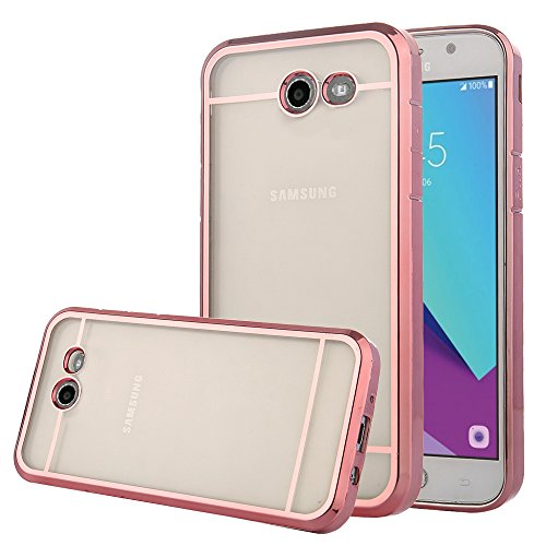 TabPow Galaxy J7 Prime 2017 Case, Transparent Clear Slim Scratch Resistant Protective Cover with Luxury Bling Frame for Samsung Galaxy J7 Perx/Galaxy J7 Sky Pro/Galaxy J7 V/J7 2017 - Rose Gold Clear