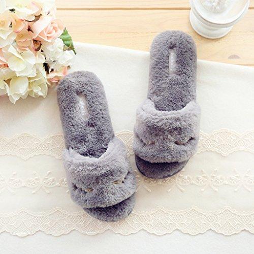 Fortuning's JDS Women Ladies Faux Rabbit Fur House Slippers Velvet Grey Flip Flops flatform Open Toe Sandals 4lii6Ij5