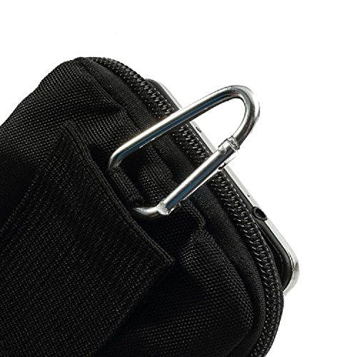 DFV mobile - Multi-functional Universal Vertical Stripes Pouch Bag Case Zipper Closing Carabiner for =>      APPLE IPHONE 5 > BLACK XL (16.5 X 10 cm)