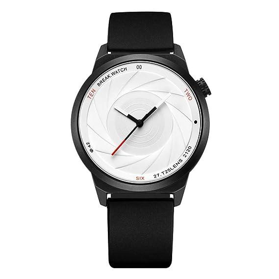 PAKITHEN Relojes Hombres y Mujeres Parejas de Acero Inoxidable Nuevo Concepto Relojes de Cuarzo Óptico Fantasma Estudiantes Moda Simple Impermeable: ...