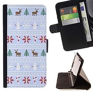 """la tarjeta de Crédito Slots PU Funda de cuero Monedero caso cubierta de piel Sony Xperia M5 E5603 E5606 E5653 , ( Winter Reindeer Snowman suéter de Navidad"""" )"""