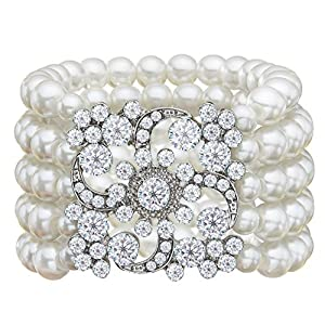 Zking Art Deco Bracelet Gatsby 5 Rows Fashion Faux Pearl Elastic Bangle 20s Flapper Accessories Jewelry