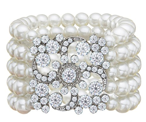 Zking Art Deco The Great Gatsby 5 Rows Faux Pearl Elastic Bracelet (Pearl Jewelry)