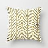 1WillLoanestore Gold Herringbone 18 X 18 Creative Fashion Polyester Square Decorative Throw Pillow Cover