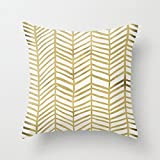 Decorative Pillow Cover - HLPPC Gold Herringbone 18 X 18 Creative Fashion Polyester Square Decorative Throw Pillow Cover