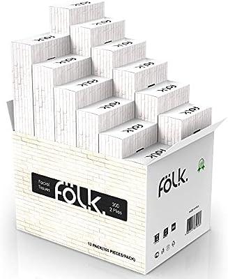 FOLK - Caja de pañuelos de papel en muchos diseños diferentes - 12 paquetes x 100 paños=1200 pañuelos de maquillaje resistentes en calidad premium - Dispensador de papel con pañuelos: Amazon.es: Salud y cuidado personal