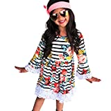 HEHEM Baby Clothes Newborn Outfits Kids Girl Boy Toddler Infant Kids Baby Girls Dress Floral Striped Print Lace Sun Dress Outfits Years