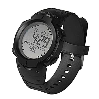 Han Shi Waterproof Wristwatch, Fashion Mens LCD Digital Stopwatch Date Rubber Sport Watch