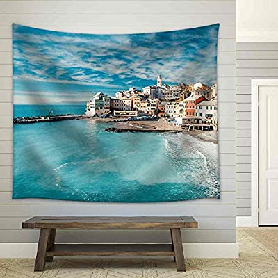 That You Will Love, Unbelievable Object of Art, View of Bogliasco Bogliasco is a Ancient Fishing Village in Italy Fabric Wall