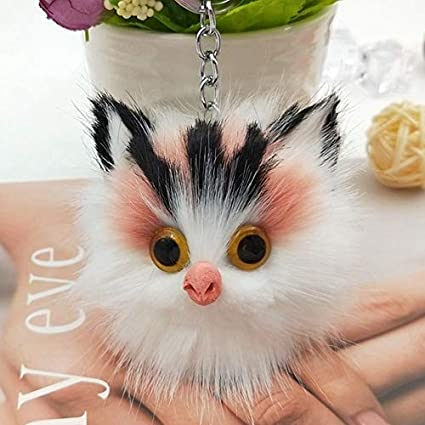 428ca68a7 Rarido Charm Women Fluffy Keychains Cute Kitten Cat Key Chain for Girls  Pompom Fur Car Key