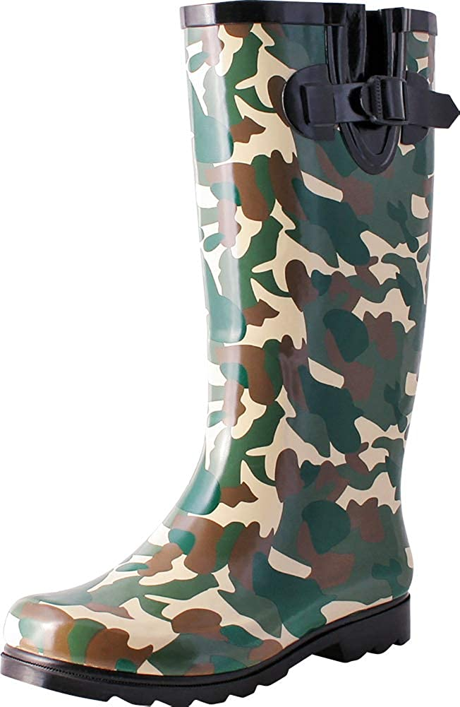 Green Camo TWO Nomad Women's Drench colorful Pattern Print Waterproof Rain Boots