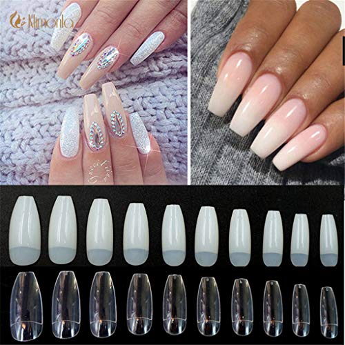 500Pcs/Bag Coffin Long Ballerina Nail Tips Square Head French Fake False Nails Abs Artificial 10 Sizes Nature Transparent -