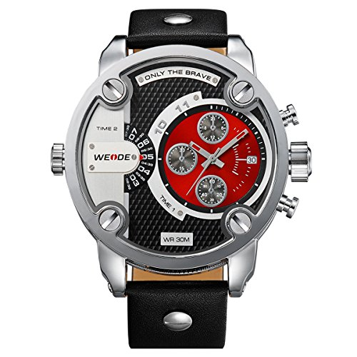 Alienwork DualTime Quarz Armbanduhr Multi Zeitzonen Quarzuhr Uhr XXL Oversized rot schwarz Leder OS.WH-3301-5