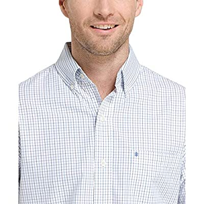 IZOD Men's Slim Button Down Long Sleeve Stretch Performance Tattersal Shirt