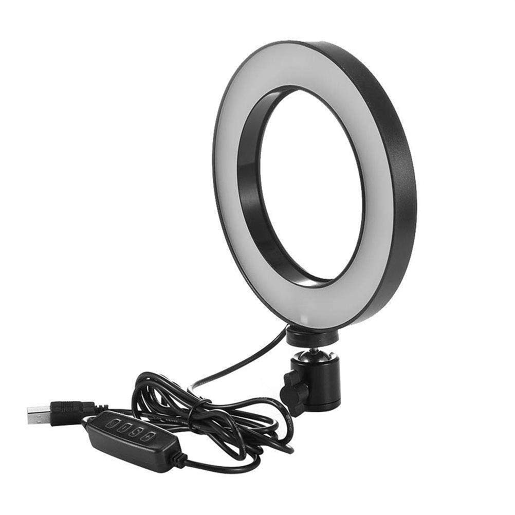 Lurrose Makeup Lamp Professional 6 Inch LED Circle Light USB Powered Camera Video Ring Light with Tripod Stand