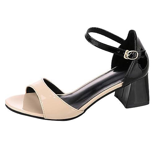 a0e58ef9 Casual Cuadrado De Mujer Moda Tacón Sandalias Verano Para hrsQCdt