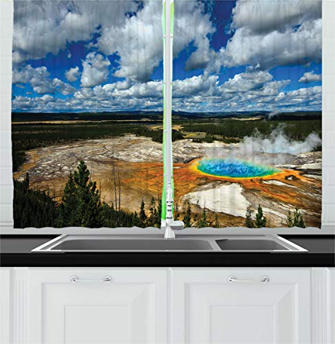Lunarable Yellowstone Kitchen Curtains, Grand Prismatic Pool at Parkland with Fluffy Clouds and Blue Sky Nature Scenery, Window Drapes 2 Panel Set for Kitchen Cafe Decor, 55