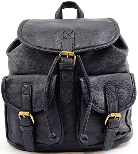 Ladies / Womens Large Faux Leather Travel / Holiday / Weekend / Casual Backpack / Rucksack Navy