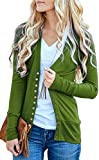 Basic Faith Women's S-3XL V-Neck Button Down Knitwear Long Sleeve Soft Knit Casual Cardigan Sweater Olive L