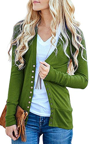 Basic Faith Women's S-3XL V-Neck Button Down Knitwear Long Sleeve Soft Knit Casual Cardigan Sweater Olive - V-neck Sweater Basic