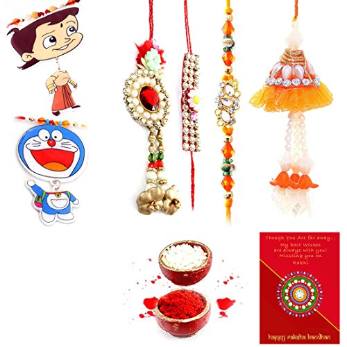 Priglobal PVT LTD | Rakhi for Brother | Jaipuri Handmade Ethnic Design 6 Pc Family Rakhi Gift Set